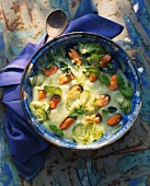 Zucchini soup with mussels