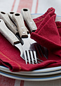 Cutlery with wooden handles on red napkin on stack of plates