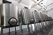 Stainless steel tanks in the Boxwood Winery, Middleburg, Virginia, USA