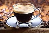 Espresso in glass cup