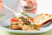 Chicken escalope with capers