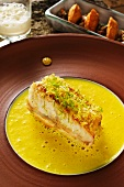 Turbot on saffron sauce with pearl barley risotto