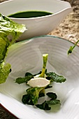 Nettle soup with fish dumpling