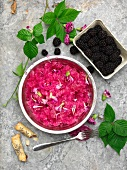 Beetroot granita with blackberries