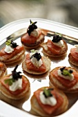 Blinis with smoked salmon trout and caviar