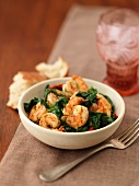 Shrimp with leaf spinach
