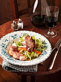 Rabbit salad with mushrooms and carrots