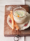 Oeuf Cocotte with bread sticks