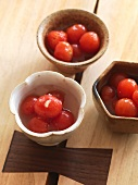 Preserved cherry tomatoes in honey, lemon juice and sake (Japan)