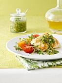 Fischfilet mit Salsa und Tomaten