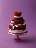 Dark red wedding cake
