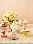 Macaroons and small cakes for a wedding