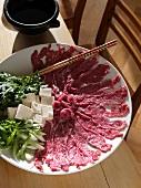 Ingredients for sukiyaki (fondue, Japan)