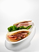 Sandwich with mortadella and salami
