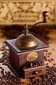 Nostalgic coffee grinder with coffee beans