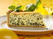 A slice of basil tart