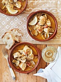 Fish and seafood casserole with picada sauce