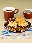 Date-streusel bars and coffee