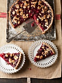 Cherry tart, sliced (France)
