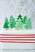 Christmas cake with pine trees