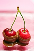 Pair of cherries -- dipped in chocolate