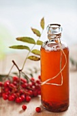 A bottle of rowanberry juice