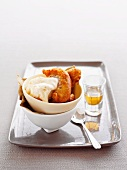 Apple fritters with vanilla ice cream and calvados