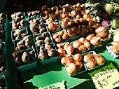 Potatoes and shallots at a market in Portland, Oregon