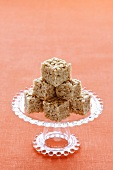 Stacked Rice Krispie Treats on a Pedestal Dish