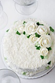 Vanilla Coconut Wedding Cake with White Frosting Flowers; From Above