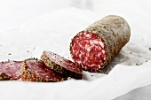 Partially Sliced Peppered Salami