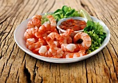 Tiger prawns with dip and lettuce