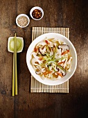 Wide Chinese noodles with mushrooms