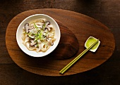 Noodles with Shiitake mushrooms and spring onions