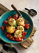 Oriental stuffed potato dumplings