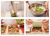 Preparing tramezzini with ham and vegetables