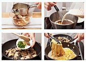 Preparing tagliatelle with porcini mushrooms