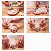 Preparing porchetta