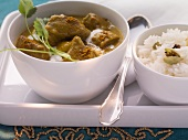 Lamb curry and rice