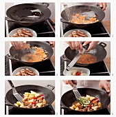 Making sweet and sour pork in a wok
