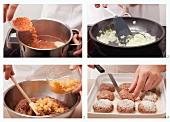 Preparing lamb burgers