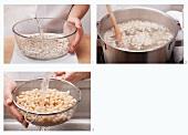 Getrocknete weisse Bohnen garen