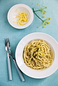 Spaghetti with basil pesto and lemon