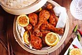 Chinese-style, marinated chicken drumsticks