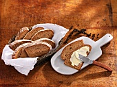 Sliced rye bread with pepper