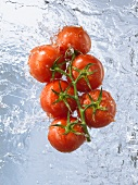 Vine tomatoes doused in running water