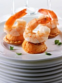 Canapes with salmon and shrimp