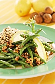 Green beans with walnuts & rice