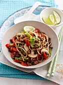 Ground beef with vegetables and noodles