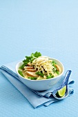 Laksa (noodle soup with chicken and coconut milk, South East Asia)